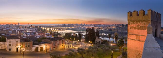 Badajoz panoramic skyline at dusk, Spain