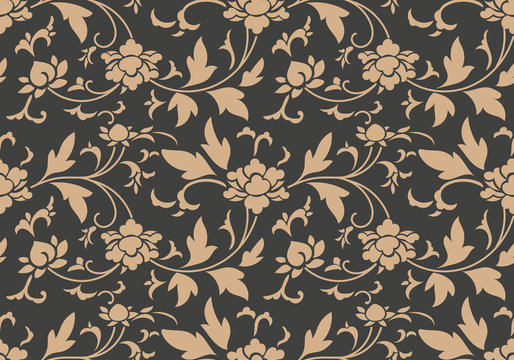 Vector damask seamless retro pattern background botanic garden spiral curve cross leaf flower