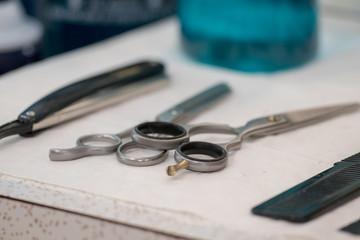Barber Shop tools, scissors, bottles, no logos/labels