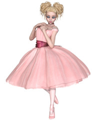 Cute Blonde Ballerina with Big Eyes Dressed in a Pink Tutu - anime style illustration