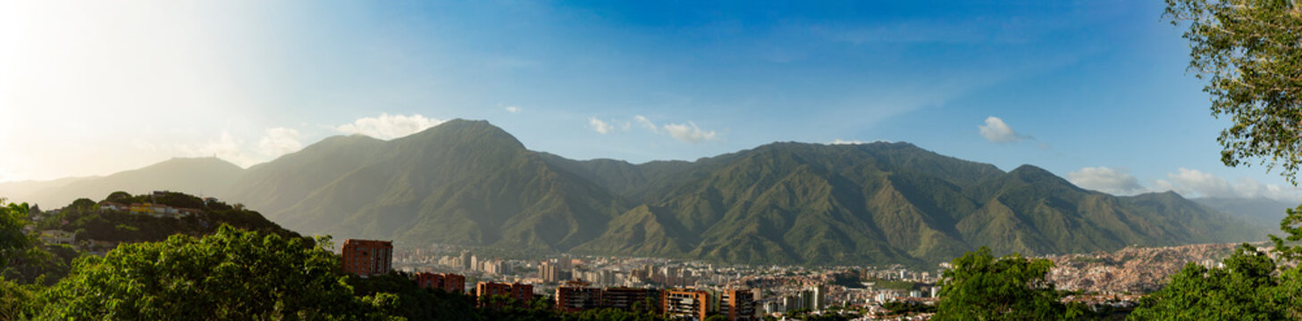 View of the city of Caracas and its iconic mountain el Avila or Waraira Repano.