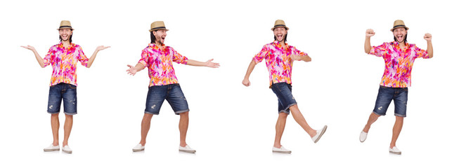 Funny tourist isolated on white