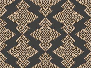 Vector damask seamless retro pattern background oriental geometry check spiral cross frame chian crest