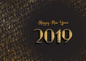 Happy New Year background with glittery and typography design