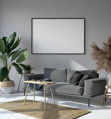 Mockup poster in hipster living room interior, Scandinavian style, 3d render