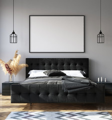Bedroom interior with poster mockup, modern style, 3d render