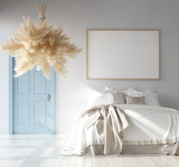 Bedroom interior with poster mockup, Scandinavian Bohemian style, 3d render