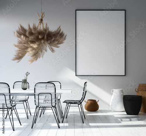 Home Interior With Poster Mockup Scandinavian Style 3d Render