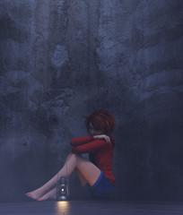 Stress girl sitting alone in a dark room or asylum,3d rendering