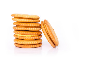 pile circle cracker on white background.