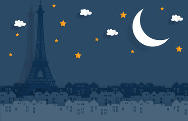 Fototapete - Paris in paper cute style with city and Eiffel tower, Night in Paris, France. Vector illustration.