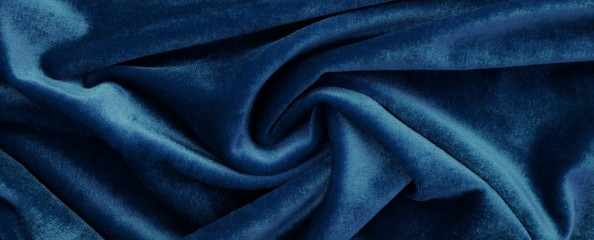 Banner. velvet texture background blue color.  festive baskground. expensive luxury, fabric, material, cloth.Copy space.