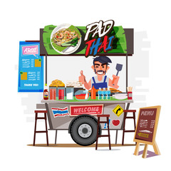 Pad Thai cart with merchant. Thailand food street concept - vector