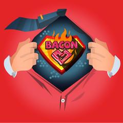 """man open shirt to show """"bacon"""" logotype. bacon lover or bacon expert - vector"""