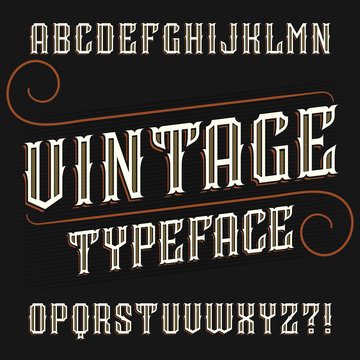 Vintage alphabet font. Ornate decorative in retro style. Stock vector typescript for your typography design.