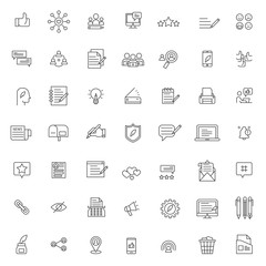 big set of content creator icons vector design with simple outline and modern style, editable stroke