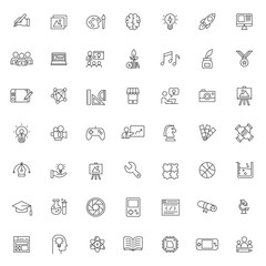 big set of creative works icons vector design with simple outline and modern style, editable stroke