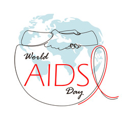 world AIDS day. People holding hands. One continuous line