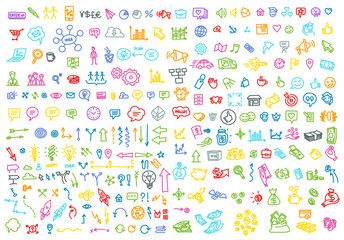 Hand draw business activity set doodle. Business ideas presentation. Bright background