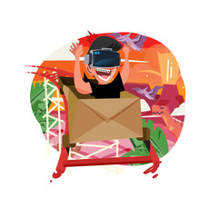 Boy Enjoying Vr Roller Coaster game - vector illustration