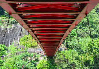 structure design under the red hanging bridge or suspension bridge, Wulai, Taiwan