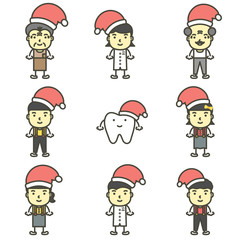 happy tooth, dentist, boy, girl, children and senior wearing santa claus hat and Christmas costumes for Merry Christmas and Happy New Year - dental cartoon vector