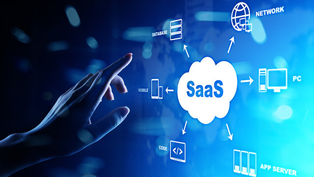SaaS - Software as a service, on demand. Internet and technology concept on virtual screen.