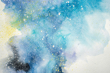 Watercolor abstract painting. Water colour drawing. Colorful blots texture background.