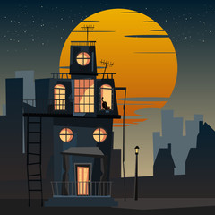 spooky housed and cat at night vector illustration