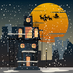Christmas and Santa Claus in city at night vector illustration