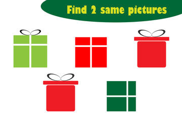 Find two identical pictures, fun education game with christmas gift boxes cartoon for children, preschool worksheet activity for kids, task for the development of logical thinking, vector illustration