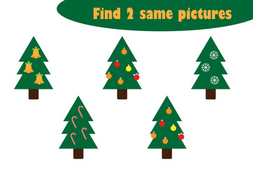 Find two identical pictures, fun education game with christmas trees cartoon for children, preschool worksheet activity for kids, task for the development of logical thinking, vector illustration
