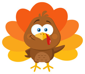 Cute Turkey Bird Cartoon Character Waving. Vector Illustration Flat Design Isolated On White Background