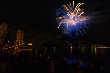 Fuochi d'artificio, Lago Maggiore, Verbania, Italia