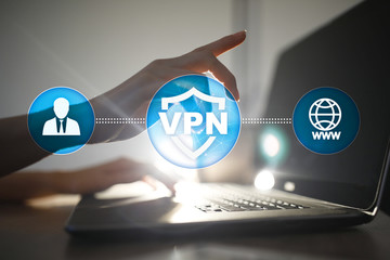 VPN Virtual Private network protocol. Cyber security and privacy connection technology. Anonymous Internet. Wall mural