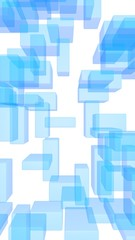 Blue and white abstract digital and technology background. The pattern with repeating rectangles. 3D illustration