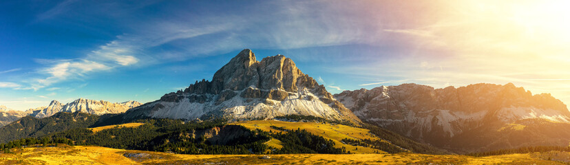 Panoramic view of Sas de Putia mountain at Passo Erbe, Italy, Dolomites, Europe Wall mural
