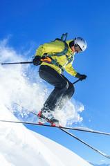 abheben auf Telemark-Skiern