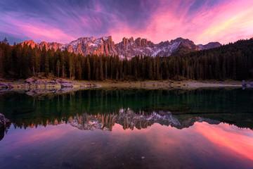 Beautiful sunset at Carezza lake, Dolomites, Italy, Europe