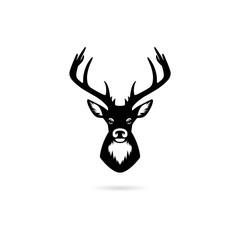 Black Silhouette head deer, Deer head icon or logo