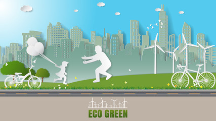 Paper folding art origami style vector illustration. Renewable energy ecology technology concepts, daughter is running to father and holding balloons in green city park which full of wind turbine.