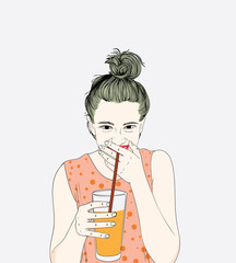 A woman wearing an orange shirt, she is drinking delicious juice is her favorite in the summer.