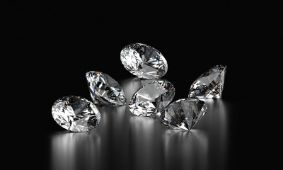 Realistic diamonds isolated on black background, 3D illustration.