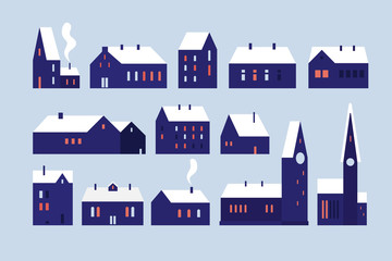 Set of various houses with snow-covered roofs, towers and luminous windows. Illustration of European architecture in the winter city. Festive seasonal vector illustration.
