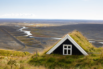 Beautiful rural huts overlooking the landscape. Europe Iceland