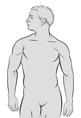 A human male figure in outline illustration graphic