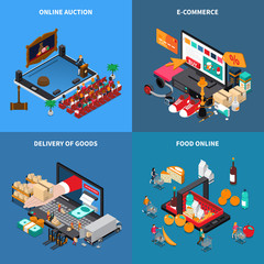 Mobile Shopping Isometric Concept