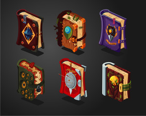 Magic book icons set on isolated background. Fantasy cartoon covers. Game design concept.