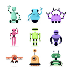Cartoon robots set isolated on white vector illustration. Funny droids and drones collection.
