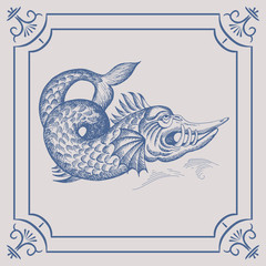 Mythological vintage sea monster on the Blue Dutch tile. Imitation. Glazed porcelain ceramic.